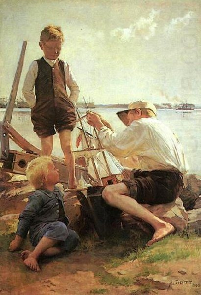 Finnish Painter: Albert Edelfelt (1854 – 1905),   'Ship Builders'