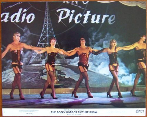 """The Rocky Horror Picture Show Lobby Card #4: 1975, 20th Century Fox, Complete Set of #1 - 8 cards; Condition NM-, size 11 x 14 inches, stars Tim Curry, Susan Sarandon, Barry Bostwick, Richard O'Brien, Meatloaf, Charles Gray, Nell Campbell, Patricia Quinn, and Peter Hinwood. Directed by Jim Sharman. Do the """"Time Warp"""" with the quintessential midnight movie. All 8 for $300"""