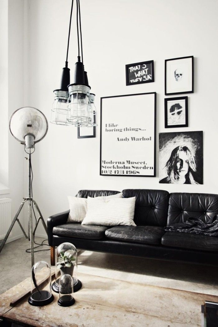 Die besten 25+ Schwarzes ledersofa Ideen auf Pinterest Schwarze - wohnzimmer ideen schwarz lila