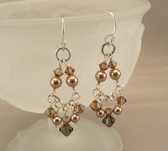 Brown Crystal Chandelier Earrings Bronze by BridalDiamantes