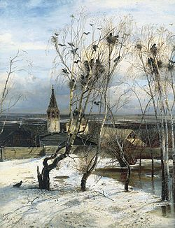 In The Rooks Have Returned (1871) by Alexei Savrasov, the arrival of the rooks is an early portent of the coming spring.