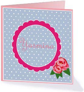 Stippen en roosjes doen het altijd goed op een geboortekaartje. Dit kaartje is schattig en klassiek tegelijk.