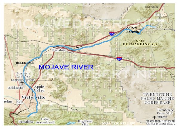 Map of Mojave River in Mojave Desert