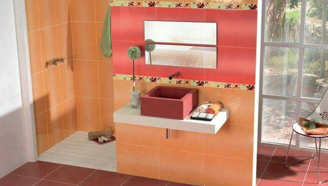 modern orange bathroom tile designs ideas see many designs of orange wall tiles for modern bathroom and know the suitable tiles colors with orange tiles