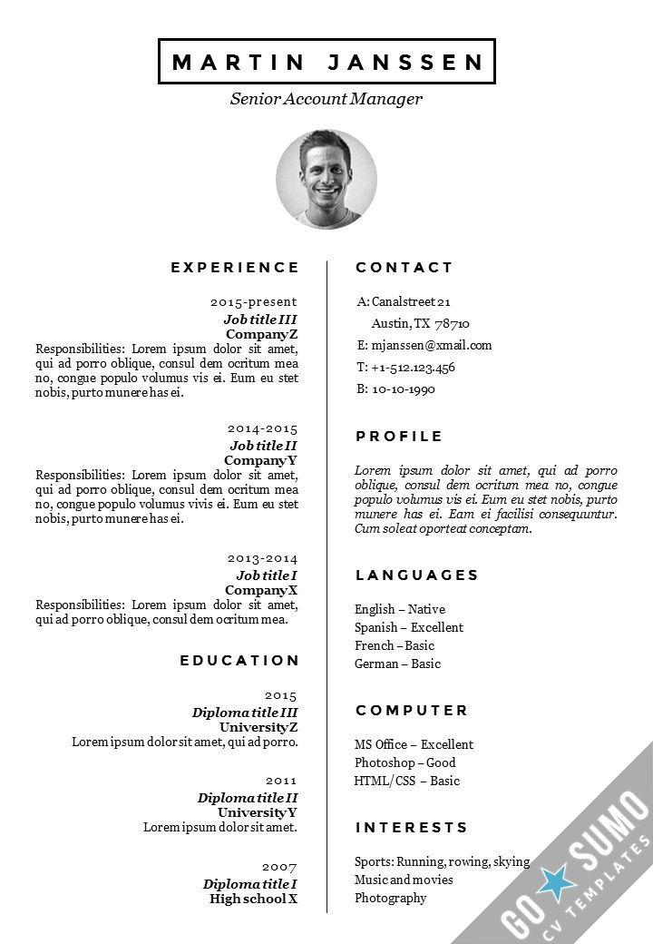 Best Go Sumo Cv Templates  Resume  Curriculum Vitae Design