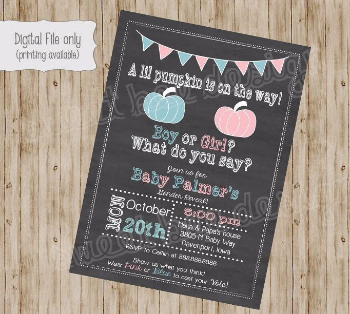 the 25+ best ideas about pumpkin gender reveal on pinterest | fall, Baby shower invitations