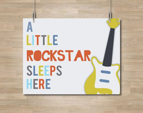 Guitar Nursery Art Little Rockstar by CelebrativeDesign on Etsy