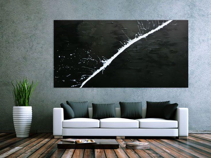 Minimalistisches Acrylgemlde Abstrakt Moderne Kunst Schwarz Weiss 100x200cm Von Xxl Artde