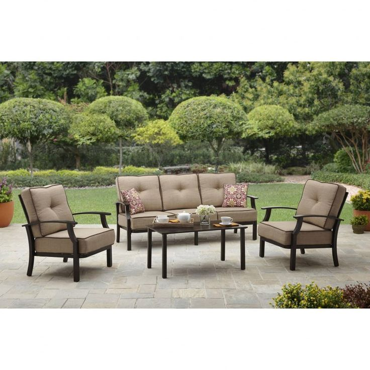 Outdoor Brown Conventional Stained Wooden Conversation Set With Red Floral  Pattern Pillow Also White Flower And. Cheap Patio ...