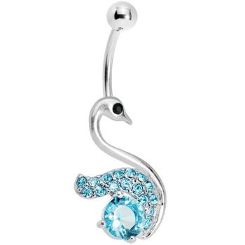 Aqua Gem Graceful Paved Swan Belly Ring $8.99 #bellyring #swan #piercing