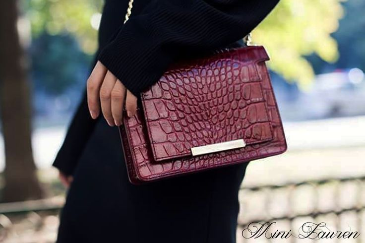 Chocolate Mini Lauren leather bag with croco effect @wi