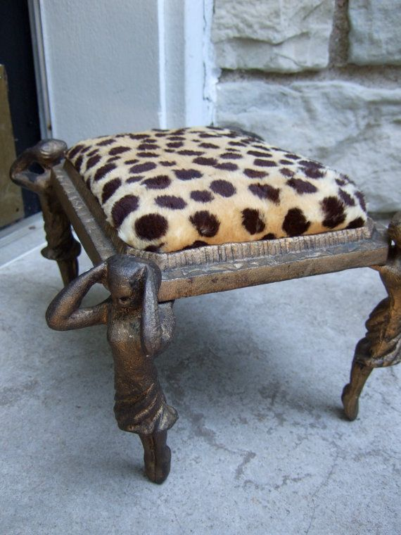 Wonderful Opulent Vintage Art Deco Animal Print Foot Stool C 1940