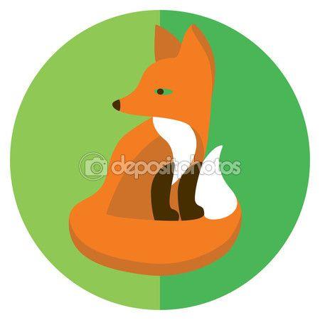 Скачать - плоские иконки лиса - Stočková Иллюстрация # 71067501