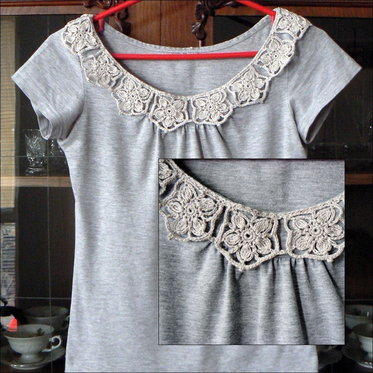 Gray blouse with crocheted collar.