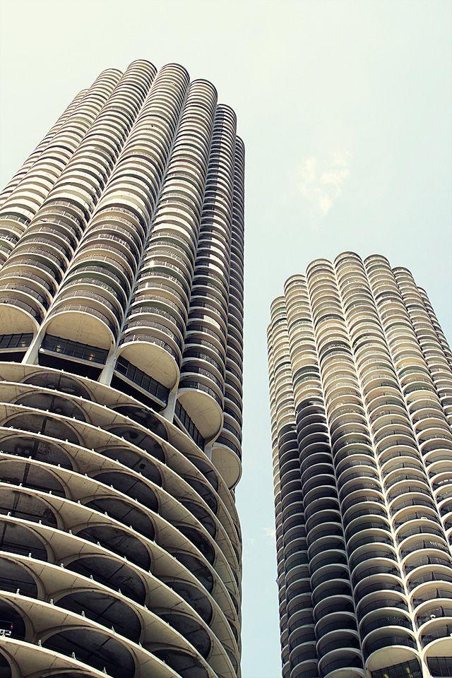 Marina City towers designed by Bertrand Goldberg. Chicago, IL