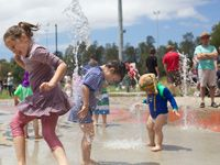 The Waterplay Park is an exciting recreational and environmental initiative. It provides a fun playground for children during summer months, with water fountains and sprinklers. It also demonstrates an environmental process in action, utilising all aspects of the water cycle.    The Waterplay Park is located at Steel Park in Marrickville South, adjacent to the Cooks River on Illawarra Road.