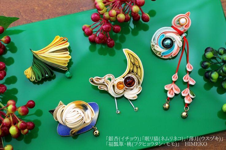 つまみ細工 ブローチ ● silk art HIMEKO facebookpage https://ja-jp.facebook.com/himekosilkart ● http://www.a-yarn.com/