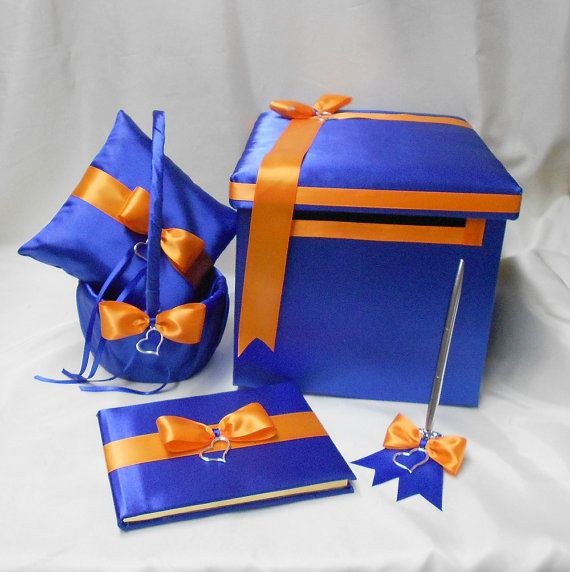 Royal Blue Orange Wedding Bridal Accessories by weddingsbyminali