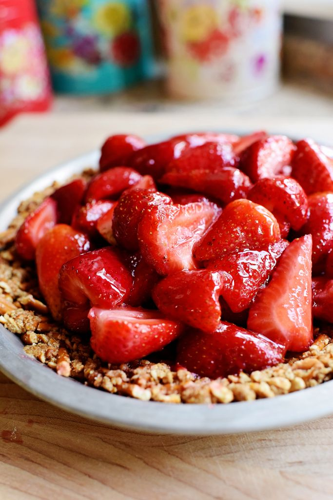 Strawberry Pretzel Pie served with whipped cream on top