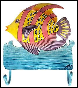 Pink & Yellow Striped Hand Painted Metal Tropical Fish Hook - Handcrafted Metal Wall Hook Add a colorful accent piece to your home with this darling hand painted metal tropical fish hook. Metal fish w