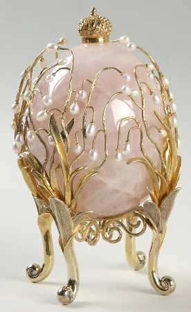 FABERGE CRYSTAL EGG, CUT, GOLD TRIM PIECE NAME: LILIES OF THE VALLEY ROSE replacements.com-Gorgeous!
