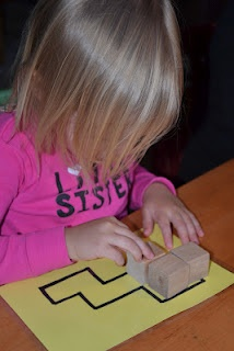 Block puzzles:  Make your own patterns and laminate for durability.  Use wooden cubes to place in the pattern.