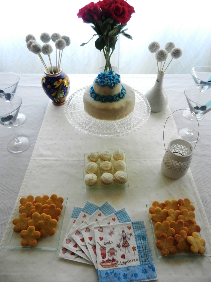 Bday sweet table... white and blue