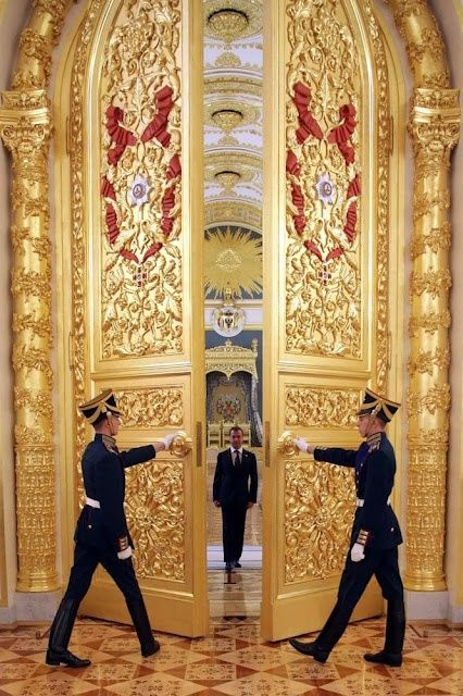 Inside the Grand Kremlin Palace ~ its origin, the wooden fortress is dated by the 15th century. The building was reconstructed several times, the modern version is dated by the 19th century. | Image:: the most outstanding gates of The Grand Kremlin Palace are situated between The Andrew's Hall and The Catherine's Hall. Ex-president of Russia Dmitry Medvedev is entering The Catherine's Hall. Find more in this board~