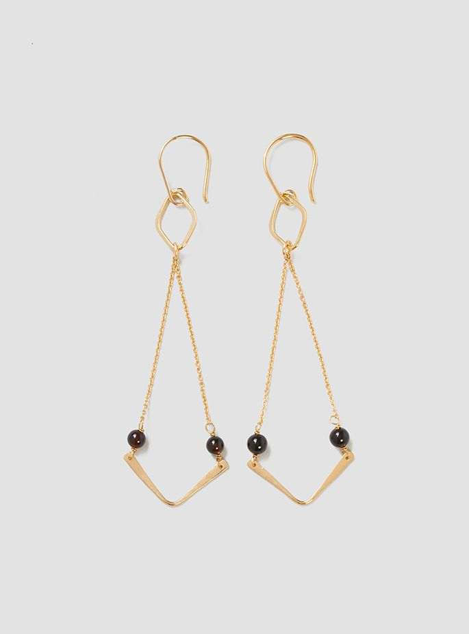 Couverture and The Garbstore - Womens - Helena Rohner - Tiny Chain Boomerang Earrings