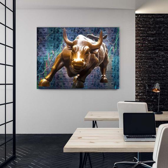 Charging Bull Canvas Art Wall Street Bull Wall Art Art For Canvas Art Art Wall Wall Art