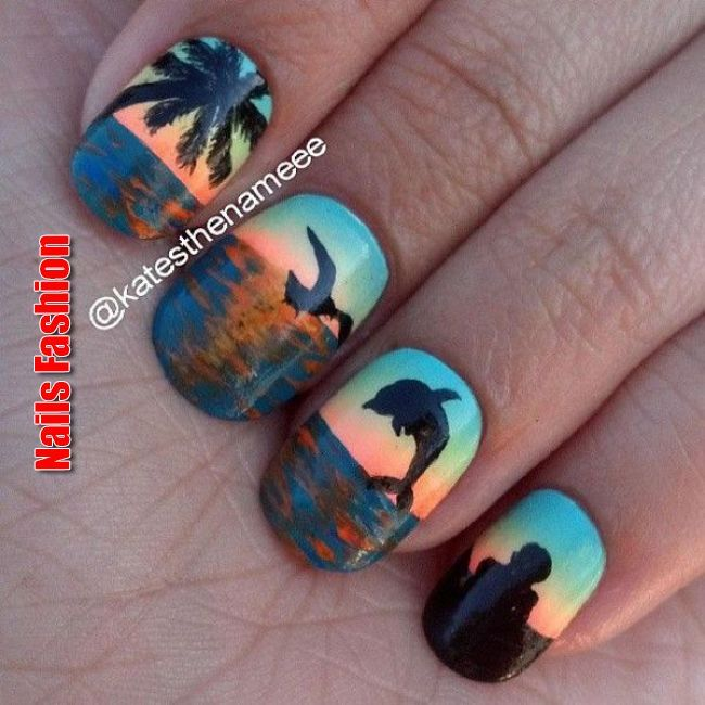 """65 Lovely Summer Nail Art Ideas   Kick off that summer vibe with this hot and bright orange nails to accompany you! Coat your nails with matte orange to resemble the intense heat of the sun. Tone it down with a white layer topped with orange and… Continue Reading →"""", """"pinner"""": {""""username"""":.."""