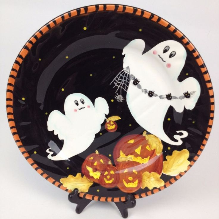 Laurie Gates Ware Ceramic Halloween Ghost Pumpkin Black & Orange Plate Tray Dish