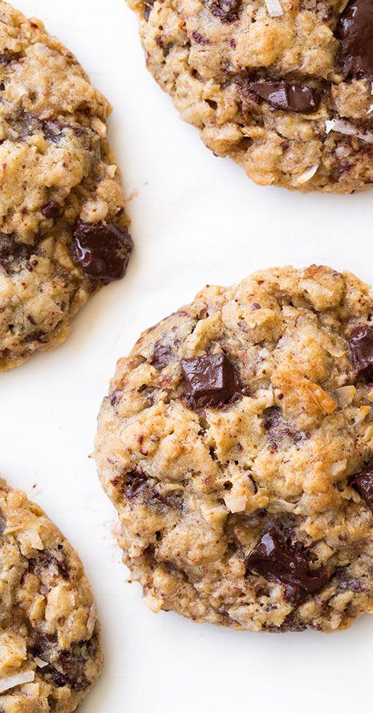 Oatmeal Coconut Almond Chocolate Chunk Cookies - CookingClassy.com | #cookie_recipes #dessert_recipes #chocolate_recipes