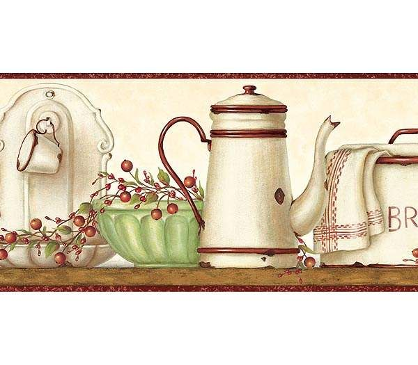 Enamelware shelf wallpaper border rustic country primitive for Wallpaper borders for kitchen