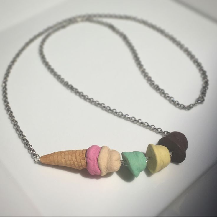 Handmade Ice Cream Scoop Polymer clay Necklace perfect womens gift by FraaiStudio on Etsy