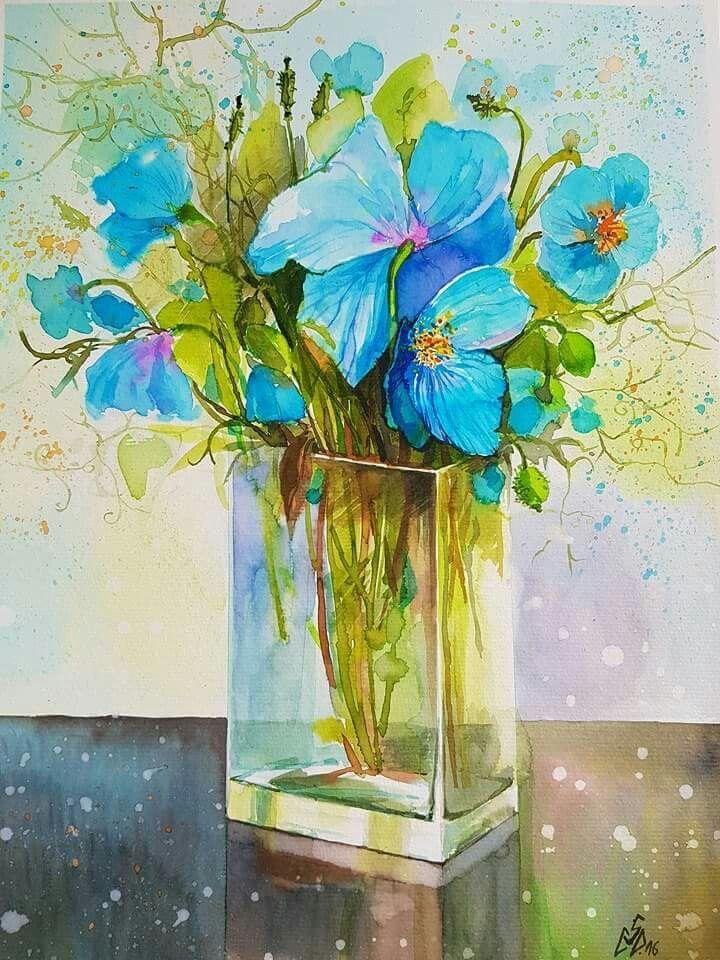 """Blue Poppies 4""-2016. Watercolor by Gabriela Calinoiu. Romanian painter. www.picturiflori.wordpress.com"