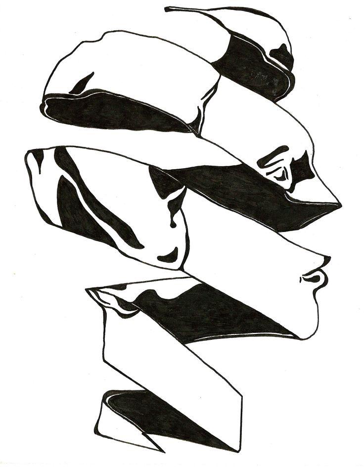 Spiral Head B&W 1990_DfV; art, sketch, ink, black, white, man, modern, profile, drawing