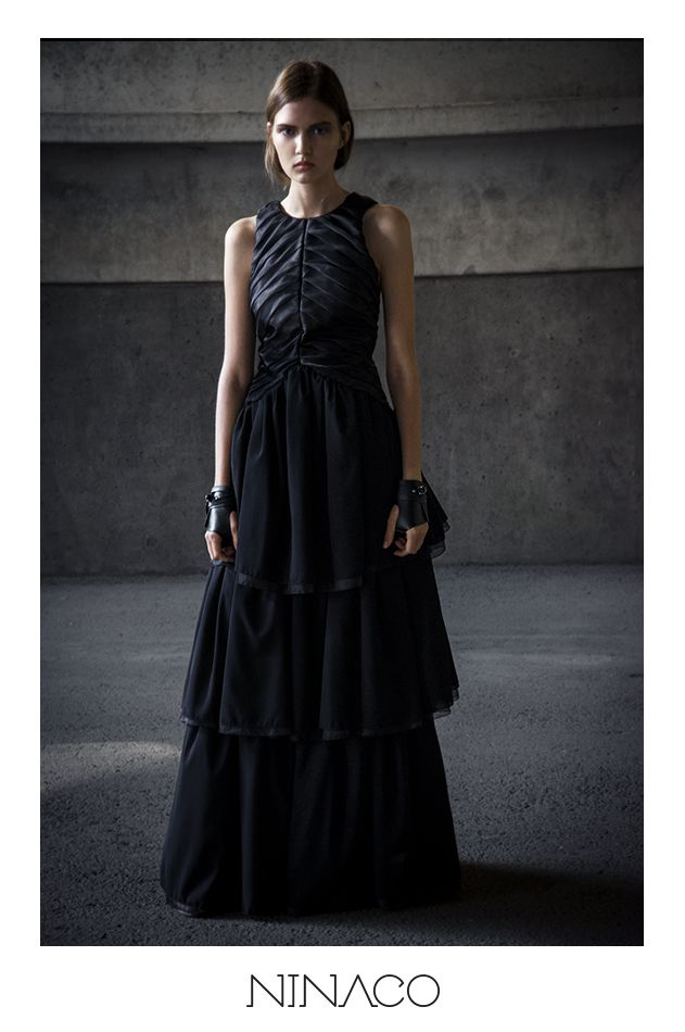 Black silk evening gown Ninaco Couture Id campaign Photographer Mikko Rasila Muah Miika Kemppainen Style Nina Hirvonen Model Maria V from Paparazzi Model Management www.ninaco.co #black #eveninggown #long #dress #silk #ninaco #couture #design