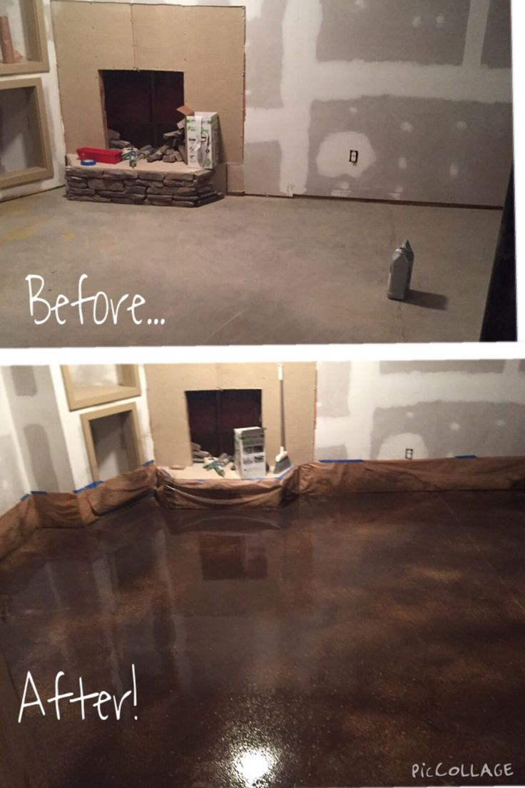 Basement almost...Behr Concrete Stain. Golden Desert and ...