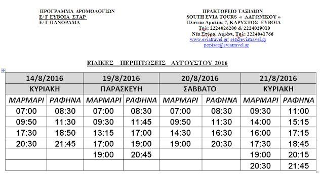 ΑΛΛΑΓΕΣ ΓΡΑΜΜΗΣ ΡΑΦΗΝΑ - ΜΑΡΜΑΡΙ - EVIA TRAVEL