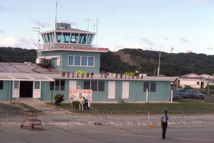 1977 Antigua Coolidge Airport Welcome Sign Control Tower Kodachrome 35mm Slide