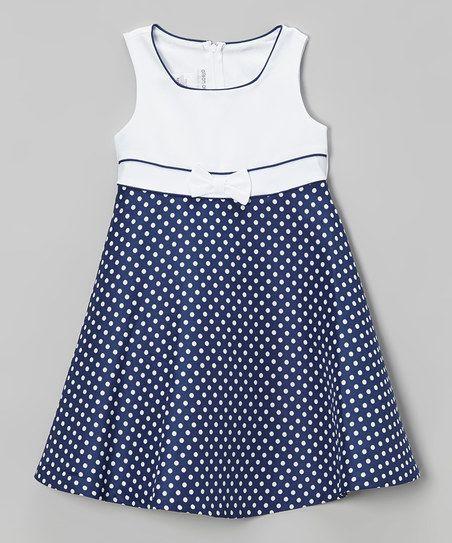 Gerson & Gerson Navy Polka Dot Dress & Coat - Infant, Toddler & Girls Plus | zulily
