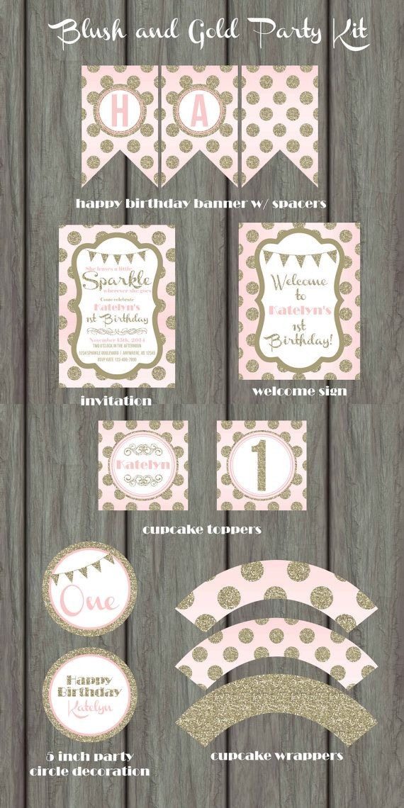 Pink and Gold Birthday Party, Blush Party Kit, Glam Birthday, Blush and Gold Invitation, Blush Birthday Invitation, Gold Birthday Invitation