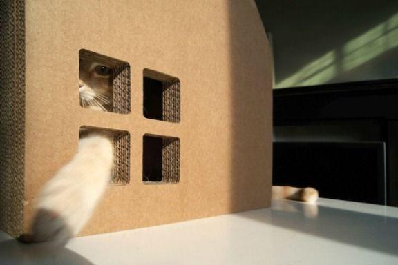 ◕ ◔ ◐ ◑ ◒ ◓ ◑ ◒ ◓ Вы о таком еще не слышали!!! Scratch house: картонный дом для вашей кошки  Голландская компания Krabhuis представила отличный продукт для домашних любимцев и их хозяев – забавный и практичный картонный «кошкин дом» Scratch house.  Картонная концепция основана на привычном для взгляда дизайне – мини-дом для кошки с виду напоминает традиционный дом с остроконечной крышей, трубой, входом и окном.  Этот домик для сна и игры был сформирован из 48-ми слоев картона. Такая довольно…