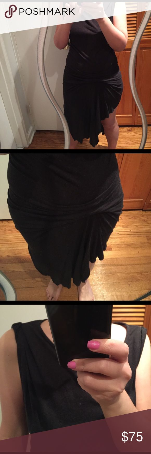 ALLSAINTS dress heather gray As all ALLSAINTS dresses - very sexy and unique- fabric is very thin and almost see through...structured short front and longer back - details on shoulders and front ( tried to show on pics) - dress has no damages and has been worn maybe 5 times max... All Saints Dresses Mini