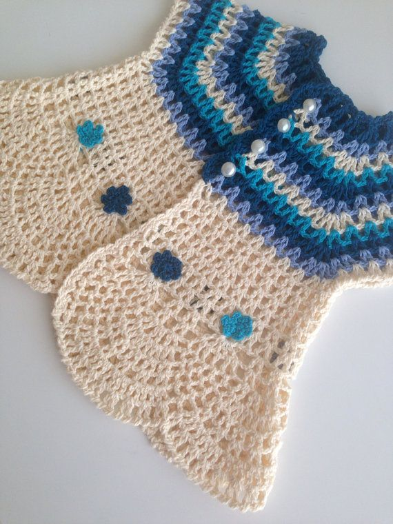 Crochet Cream Blue Pure Cotton Baby Girl door QueensAccessories