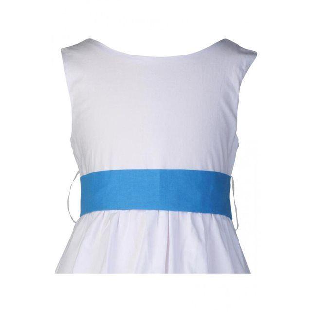 Robe Cortège Fille ceinture et pochon bleus blanche ou écrue