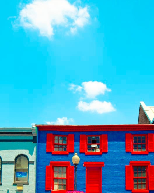 architectural photography blue wall art 8x10 photograph