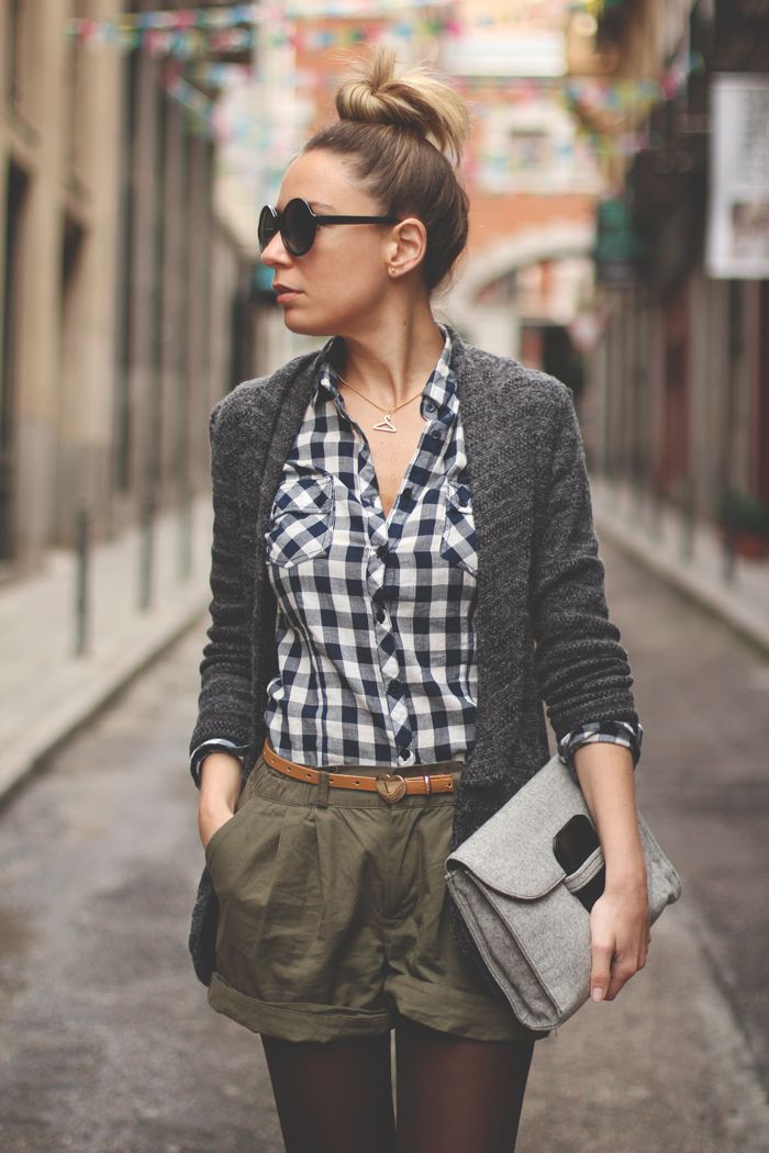 Gingham shirt + Long gray cardigan + shorts + belt //// late winter spring summer what to wear how bun sunglasses black olive green