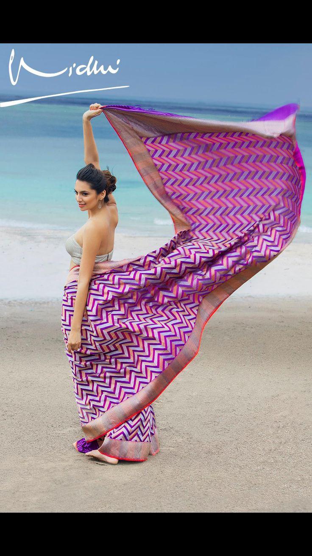 Elegant saree - Purple herringbone benaras weave by Vidhi Singhania. Photo: Sharat Chandra Model: Lekha Prajapati